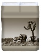 Joshua Tree National Park Landscape No 4 In Sepia  Duvet Cover