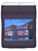 City At Night Downtown Evening Scene Original Contemporary Painting For Sale Duvet Cover