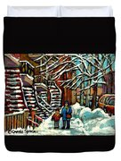 No School Today Out For A Snowy Walk Verdun Winter Winding Staircases Montreal Paintings C Spandau Duvet Cover