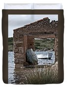 Vintage Boat Framed In Nature Of Minorca Island - Hide And Seek Duvet Cover