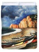 Normandy Coast - Landscape Oil Duvet Cover