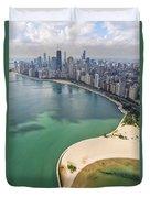 North Avenue Beach Chicago Aerial Duvet Cover by Adam Romanowicz