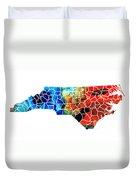 North Carolina - Colorful Wall Map By Sharon Cummings Duvet Cover