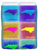 North Carolina Pop Art Map 2 Duvet Cover