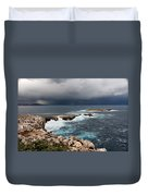 Wild Rocks At North Coast Of Minorca In Middle Of A Wild Sea With Stormy Clouds Duvet Cover