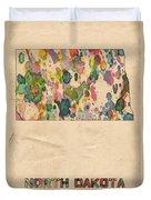 North Dakota Map Vintage Watercolor Duvet Cover