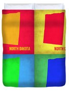 North Dakota Pop Art Map 1 Duvet Cover