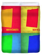 North Dakota Pop Art Map 1 Duvet Cover by Naxart Studio