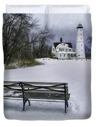 North Point Lighthouse And Bench Duvet Cover