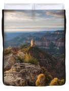 North Rim Grand Canyon Arizona Point Imperial Bathed By Sunrise Golden Light. Duvet Cover