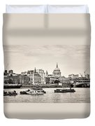 North Side Of The Thames Bw Duvet Cover
