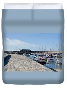North Wall - Lyme Regis Harbour Duvet Cover