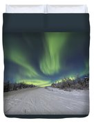 Northern Lights Dancing Over The James Duvet Cover