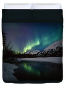 Northern Lights Over Portage River Duvet Cover