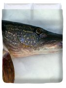 Northern Pike Fish On Snow, Close Duvet Cover