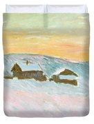 Norwegian Landscape, Blue Houses, 1895 Duvet Cover
