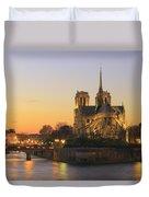 Notre Dame Cathedral At Sunset Paris France Duvet Cover