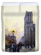 Notre Dame De Paris Duvet Cover by Eugene Galien-Laloue