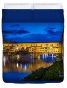 Notte A Ponte Vecchio Duvet Cover by Inge Johnsson