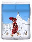 Novice Monk Jumping On White Pagoda - Mandalay - Burma Duvet Cover