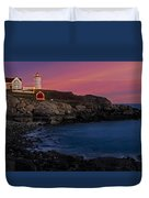 Nubble Lighthouse At Sunset Duvet Cover
