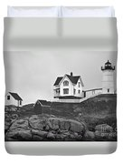 Nubble Lighthouse Cape Neddick Maine Black And White Duvet Cover