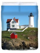 Nubble Lighthouse One Duvet Cover