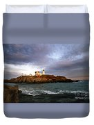 Nubble Lighthouse Duvet Cover by Skip Willits