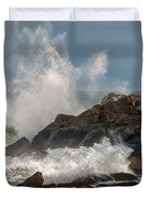 Nubble Lighthouse Waves 1 Duvet Cover by Scott Thorp