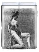 Nude Female Figure Drawing Duvet Cover
