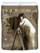 Nude In High Heel Shoes With Studio Camera Circa 1920 Duvet Cover