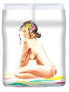 Nude Model Gesture Xvi Tropical Flower Duvet Cover