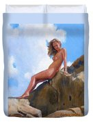 Nude On The Rocks Duvet Cover