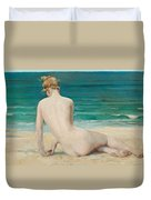 Nude Seated On The Shore Duvet Cover