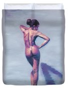 Nude Woman In Finger Strokes Duvet Cover