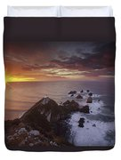 Nugget Point Lighthouse At Sunrise Duvet Cover