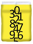 Numbers In Black And Yellow Duvet Cover