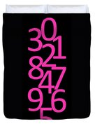Numbers In Pink And Black Duvet Cover