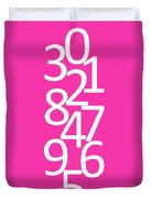 Numbers In Pink And White Duvet Cover