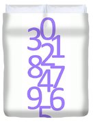 Numbers In Purple Duvet Cover