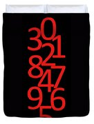 Numbers In Red And Black Duvet Cover