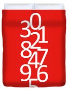 Numbers In Red And White Duvet Cover