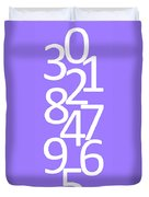 Numbers In White And Purple Duvet Cover