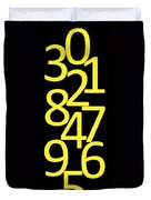 Numbers In Yellow And Black Duvet Cover