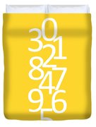Numbers In Yellow And White Duvet Cover