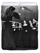 Nun Swivels Hula Hoop On Hips Duvet Cover