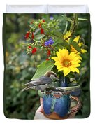 Nuthatch Bird Having Tea Duvet Cover