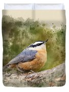 Nuthatch Watercolor Art Duvet Cover