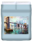 Ny City Brooklyn Bridge II Duvet Cover