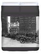 Ny Motorcycle Police Duvet Cover by Underwood Archives